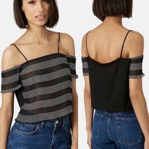 Topshop Bardot Cold Shoulder Sleeve Stripe Top